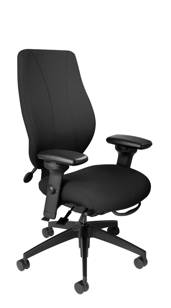 tCentric Hybrid with Upholstered Backrest and Seat, Multi Tilt Mechanism, Midnight Black Frame, Open House Onyx Upholstery