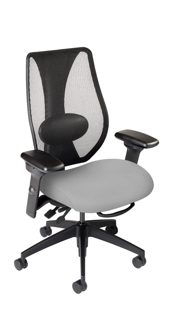 tCentric Hybrid with Mesh Backrest and Upholstered Seat, Multi Tilt Mechanism, Midnight Black Frame, Open House Asteroid Upholstery