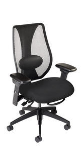 tCentric Hybrid with Mesh Backrest and Upholstered Seat, Multi Tilt Mechanism, Midnight Black Frame, Open House Onyx Upholstery