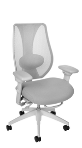 tCentric Hybrid with Mesh Backrest and Upholstered Seat, Multi Tilt Mechanism, Light Grey Frame, Open House Asteroid Upholstery