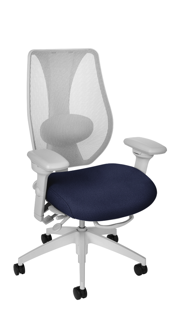 tCentric Hybrid with Mesh Backrest and Upholstered Seat, Multi Tilt Mechanism, Light Grey Frame, Open House Midnight Upholstery