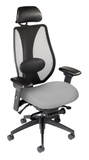 tCentric Hybrid with Mesh Backrest and Upholstered Seat, Synchro Glide Mechanism, Midnight Black Frame, Open House Asteroid Upholstery