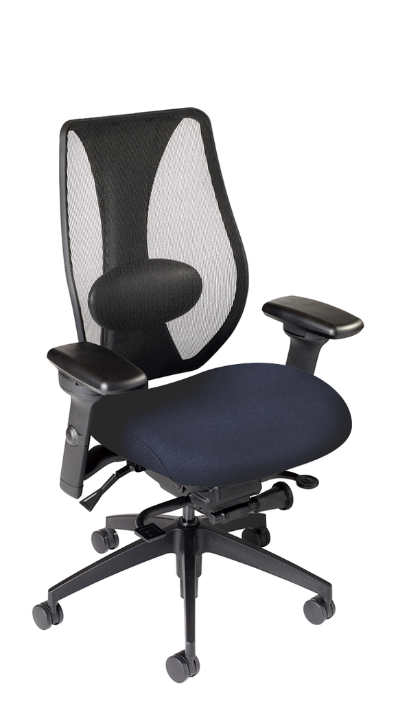 tCentric Hybrid with Mesh Backrest and Upholstered Seat, Synchro Glide Mechanism, Midnight Black Frame, Open House Midnight Upholstery