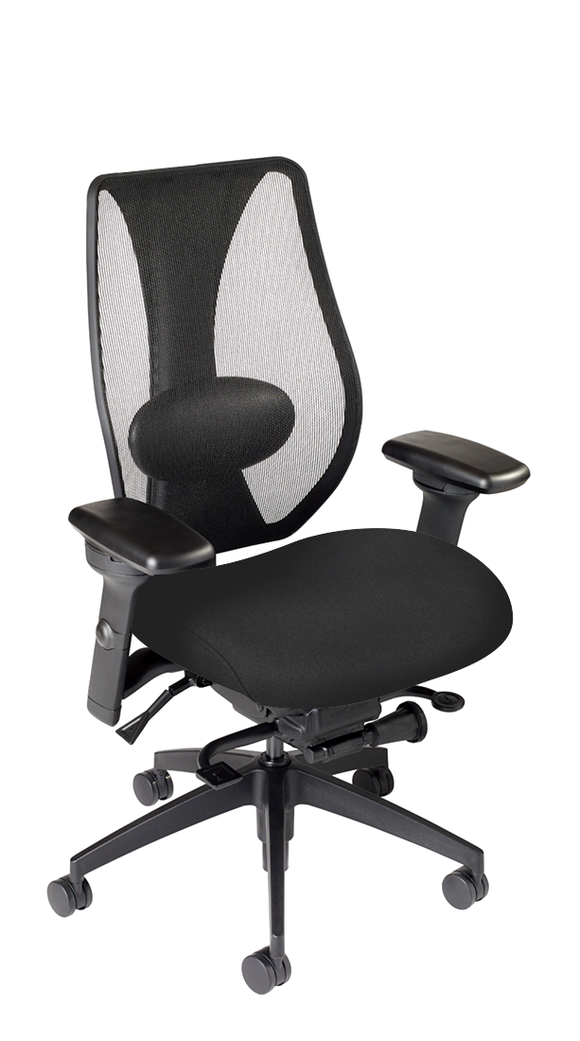 tCentric Hybrid with Mesh Backrest and Upholstered Seat, Synchro Glide Mechanism, Midnight Black Frame, Open House Onyx Upholstery