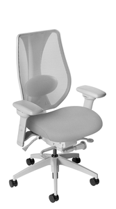 tCentric Hybrid with Mesh Backrest and Upholstered Seat, Synchro Glide Mechanism, Light Grey Frame, Open House Asteroid Upholstery