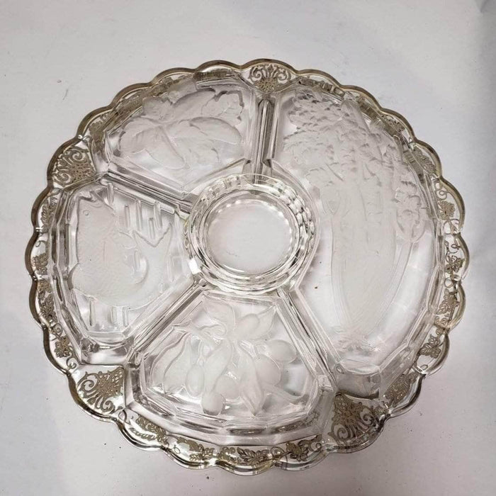 Shop Lendy - Glass Serving Dish with Silver Overlay dip Detailing - Shop Lendy