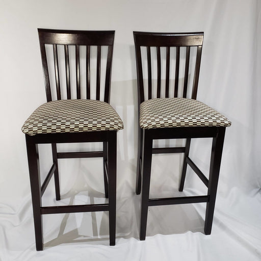 Shop Lendy - Ladder back High Top Chairs with checkered cushions - Shop Lendy