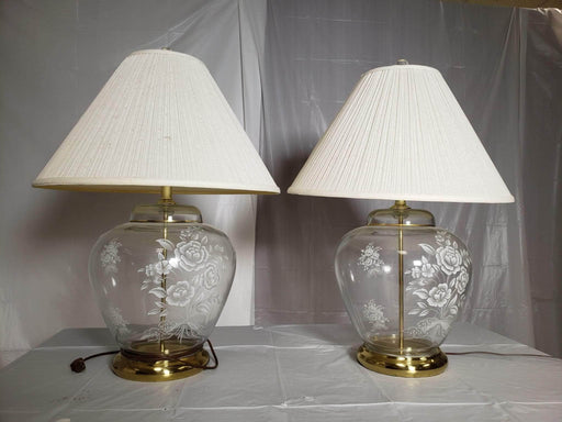 Shop Lendy - Lamps featuring Glass with Floral Etchings; sold together - Shop Lendy