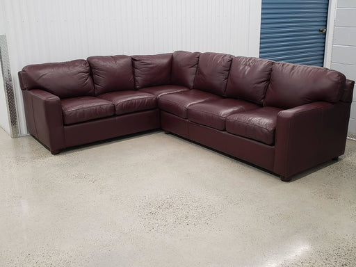 Shop Lendy - Maroon Leather Sectional Couch With Pull Out Bed - Shop Lendy