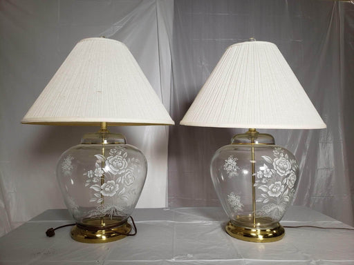 Shop Lendy Home Decor Lamps featuring Glass with Floral Etchings; sold together