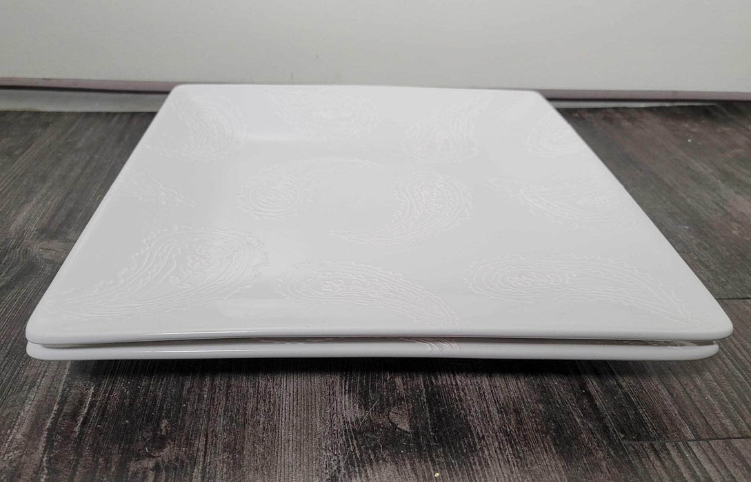 Shop Lendy - Two Large White Decorative Square Platters - Forum International - Shop Lendy