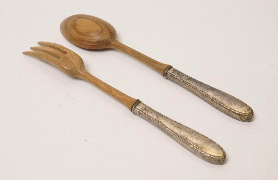Shop Lendy - Wooden & Silver Combo Serving Spoon and Fork - Shop Lendy