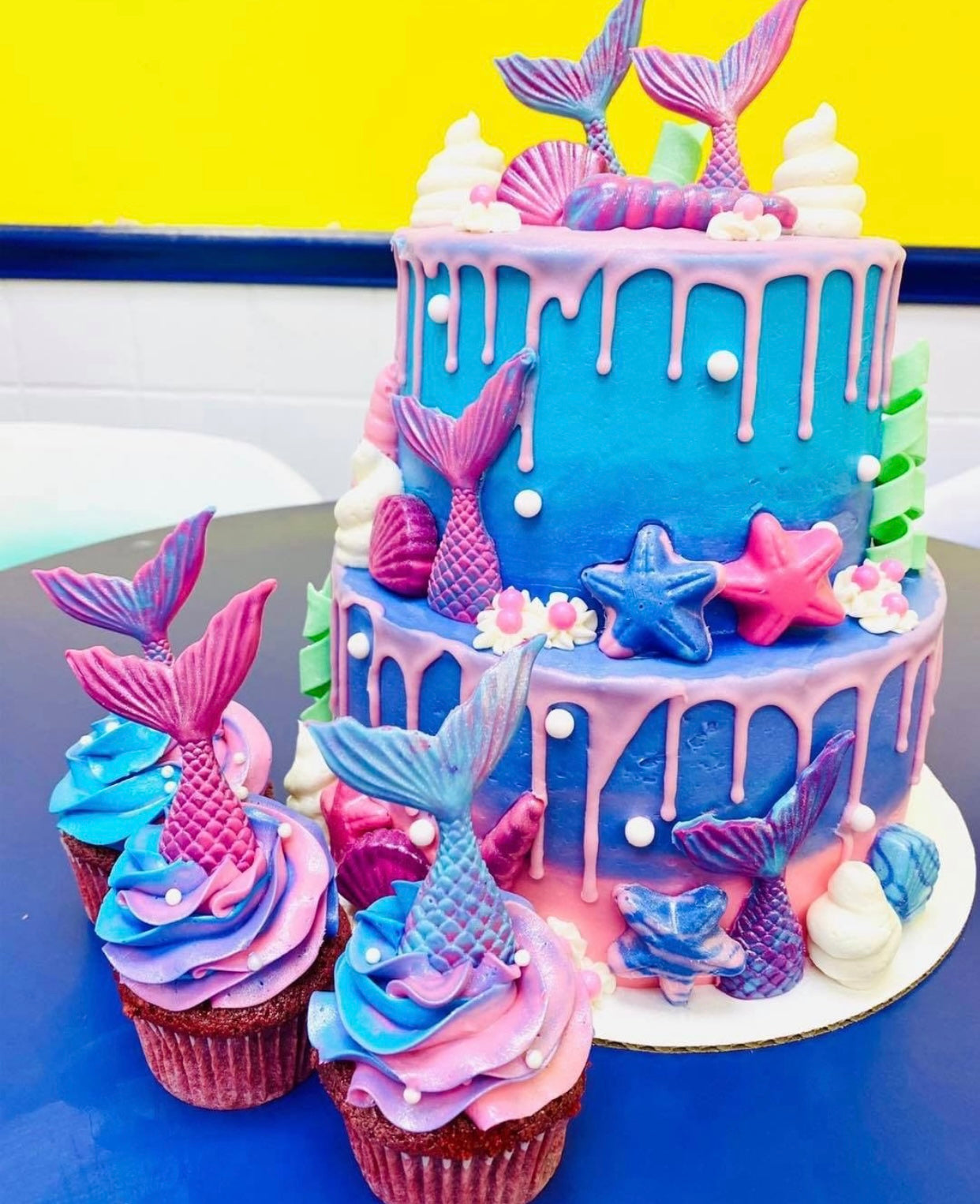 Unicorn-Mermaid Spa Day Cake