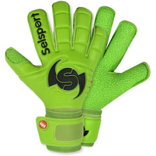 Load image into Gallery viewer, Wrappa Classic Lime Green Goalkeeper glove with textured latex palm