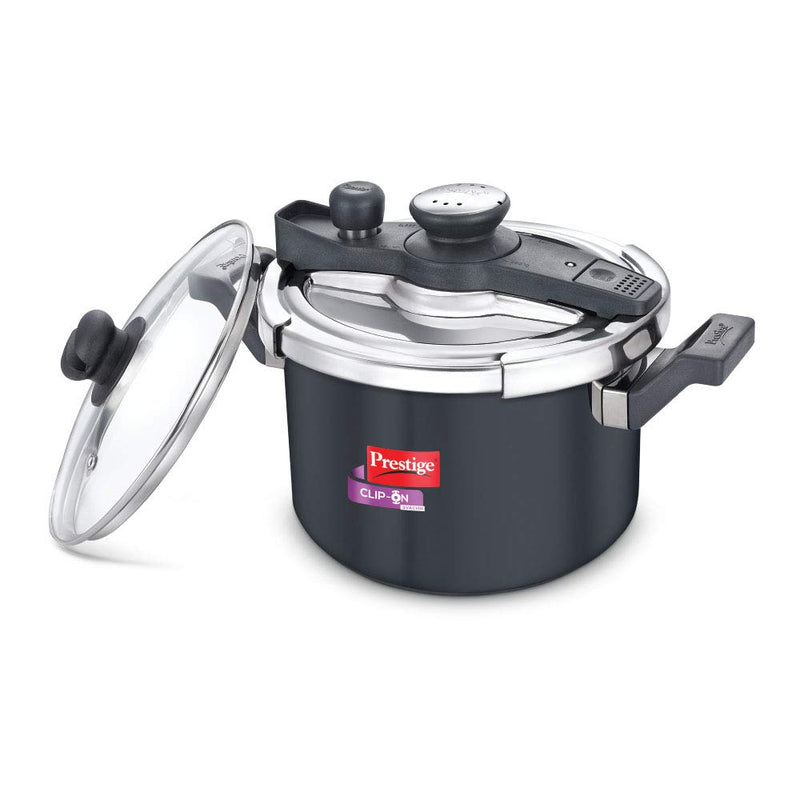 Prestige Clip-on Svachh Hard Anodized Aluminium Pressure cooker with Glass Lid