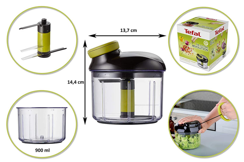 Tefal 5 Second Manual Chopper Vegetable Cutter (Brown) 900ml
