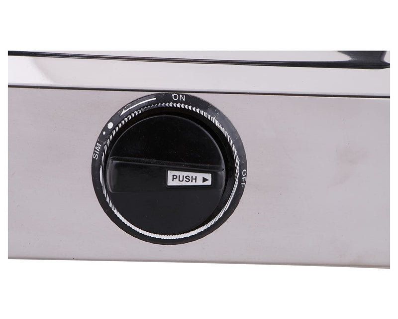 Prestige Star Glass Top 2 Burner Gas Stove, Manual Ignition, Metallic Silver