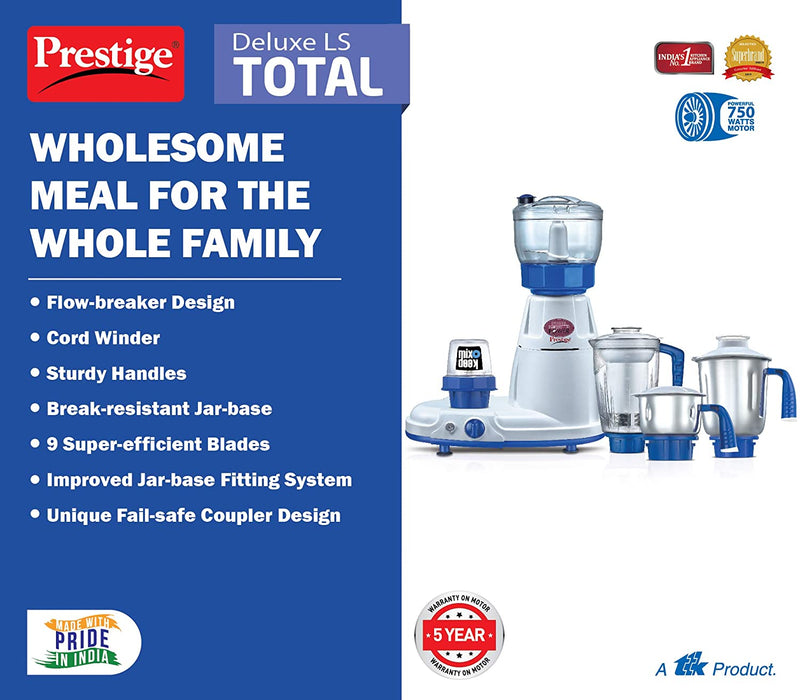 Prestige Deluxe Total LS 750W 5 Jar Mixer Grinder with 1 Food Processor Jar