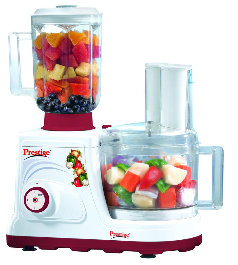 Prestige Champion 600-Watt Food Processor, (White and Maroon)