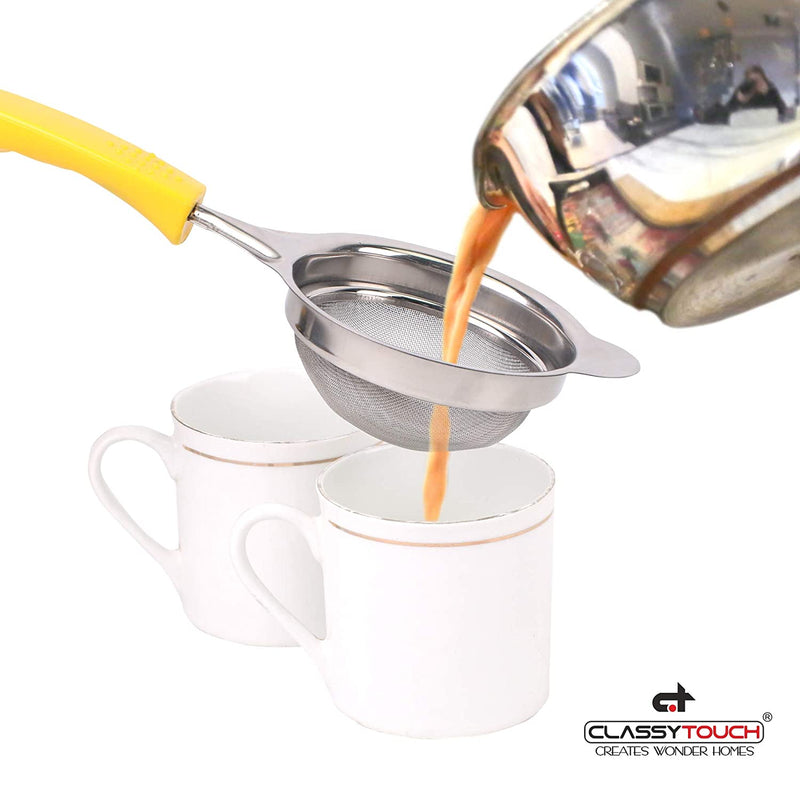 Classy Touch Fine Mesh Stainless Steel Tea Strainer with Non Slip Handle