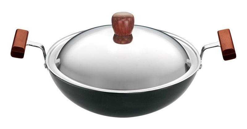 Hawkins Futura Hard Anodised Round Bottom Deep-Fry Pan with Steel Lid, 22cm/1.5 litres