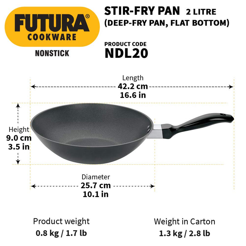 Hawkins Futura Non-Stick Flat Bottom Deep-Fry Pan 2L, (26cm)