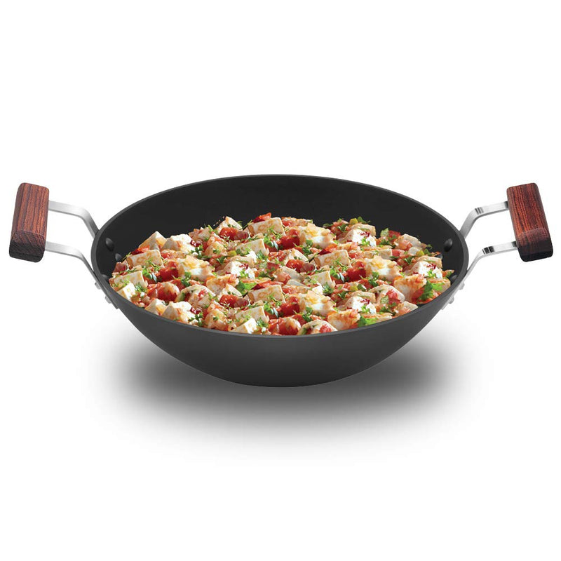 Hawkins Futura Nonstick Deep-Fry Pan (Flat Bottom) with Stainless Steel Lid /without Lid, Capacity 2.5 Litre, Diameter 26 cm, Thickness 3.25 mm, Black (ND25S)