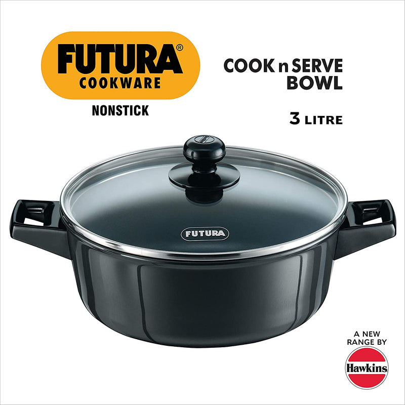 Hawkins Futura Non-Stick Cook N Serve Bowl with Glass Lid, 3 litres