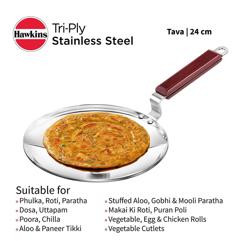Hawkins Tri-Ply Stainless Steel Induction Compatible Tava, Diameter 24 cm, Thickness 3.5 mm, Silver (SSTV24)