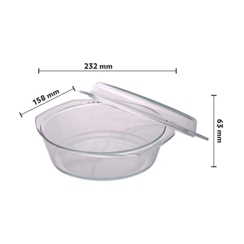 Borosil Glass Casserole - Oven and Microwave Safe Serving Bowl with Glass Lid, 1.5L