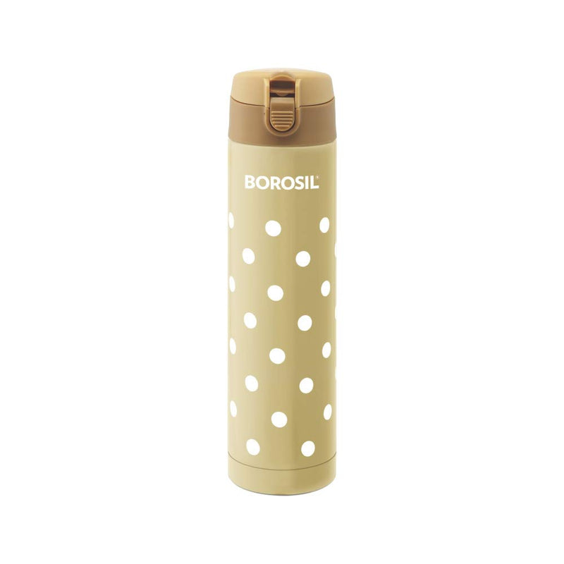 Borosil Stainless Steel Polka - Vacuum Insulated Flask Flip Top Water Bottle, Biege, 500ML