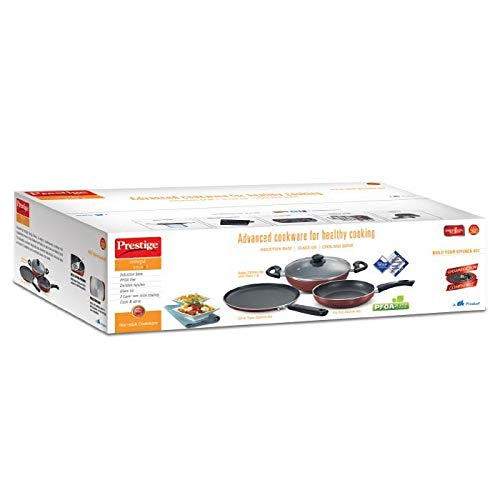 Prestige Must Have Induction Safe Teflon Coating Omega Non Stick Cookware Set -3 Pieces