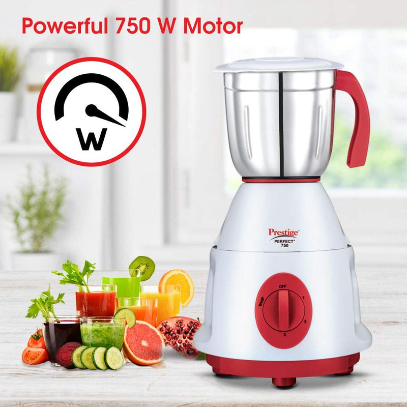 Prestige Perfect Plus Juicer Mixer Grinder, 750 Watt, 4 Jars (White and Red)
