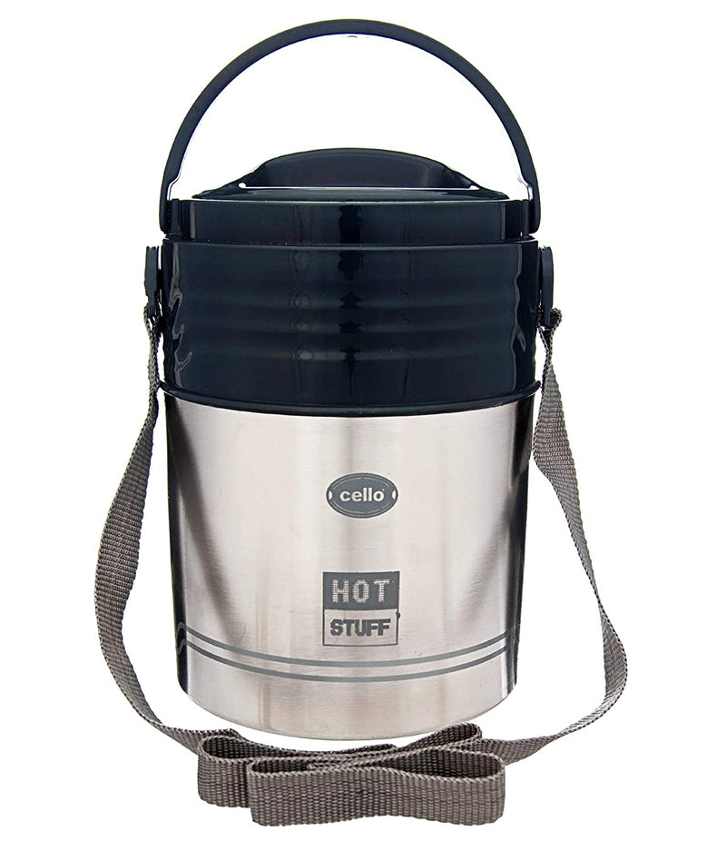 Cello HOT Stuff-3 Stainless Steel Insulated Lunch Carrier, Black, 3 Containers
