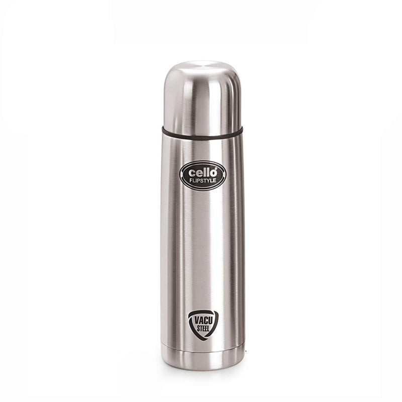 Cello Flip Style Stainless Steel Bottle with Thermal Jacket, Silver