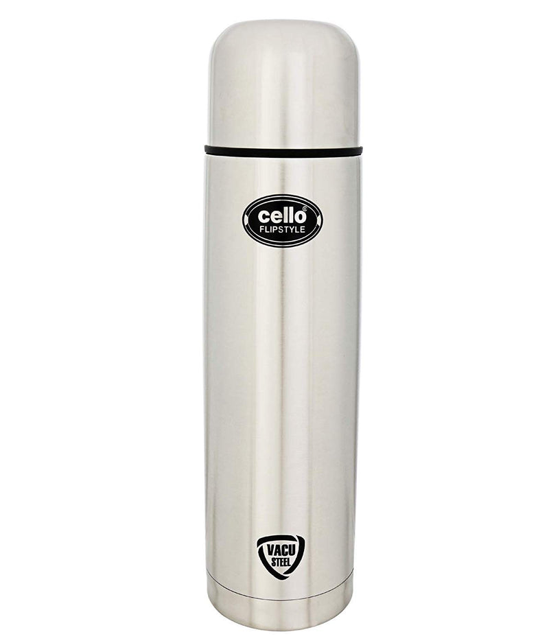 Cello Flip Style Stainless Steel Bottle with Thermal Jacket, 350ml, Silver