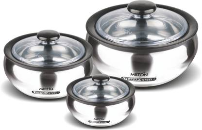 Milton Clearsteel 3- Piece Steel Casserole Set with plastic lid, Steelplain