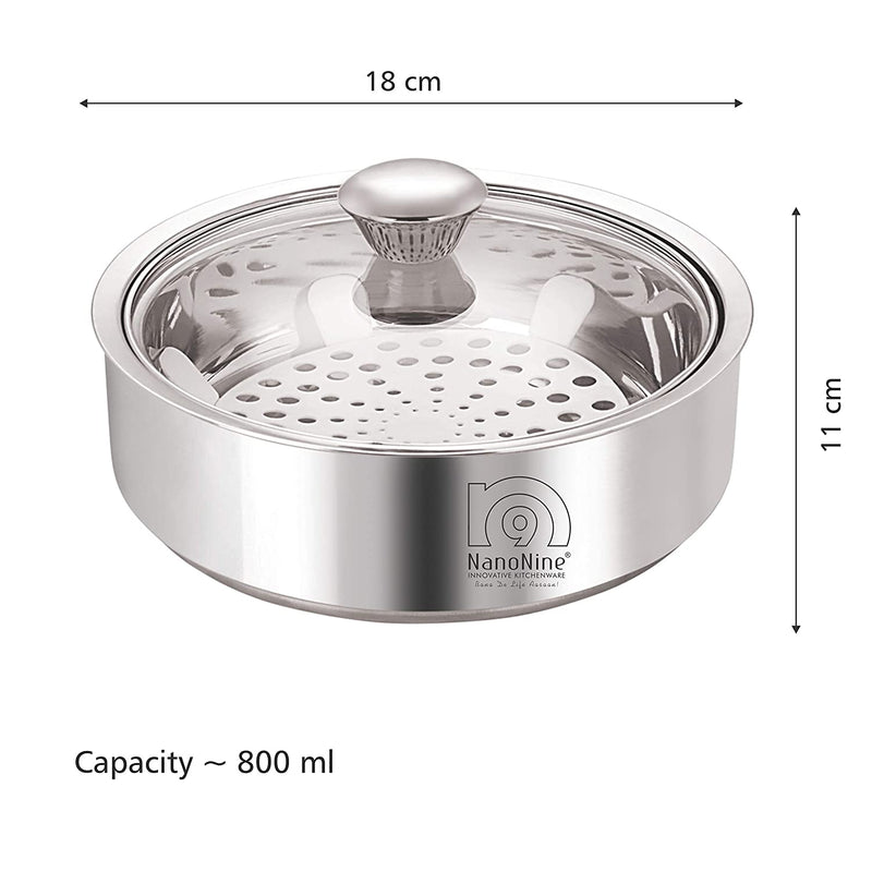 NanoNine Roti Saver Double Wall Insulated Stainless Steel Serve Fresh Chapati Pot with Glass Lid, 800 ml