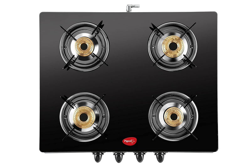 Pigeon by Stovekraft Tetra Glass 4 Burner Gas Stove, Black