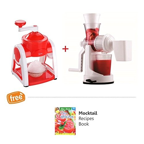 Nestwell Abs Plastic Material Ice Shaver And Manual Fruit Juicer, Red And White