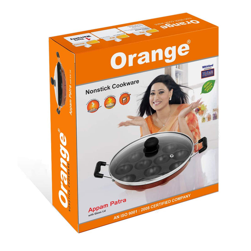 Orange Non-Stick 12 Cavity Appam Patra Side Handle with Glass lid