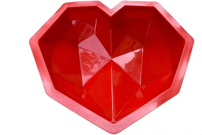 Rasoishop Pinata 3D Heart Shape Silicone Cake Mould with Hammer (Red)