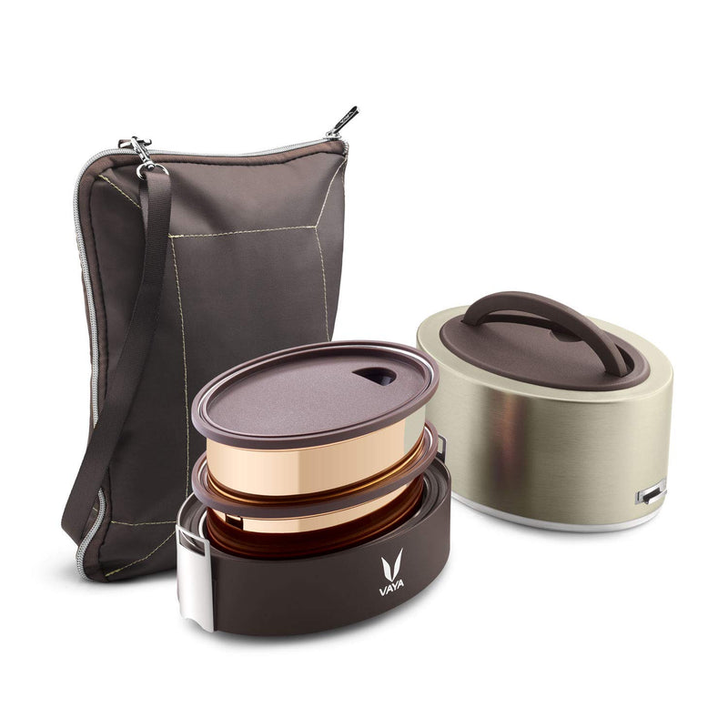 Vaya Tyffyn Graphite Copper-Finished Stainless Steel Lunch Box for Kids with Bagmat, 600 ml, 2 Containers