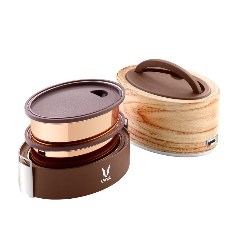 Vaya Tyffyn 1000 ml Maple & 600 ml Graphite Copper-Finished Stainless Steel Combo Lunch Boxes, 1000 ml & 600 ml, Brown