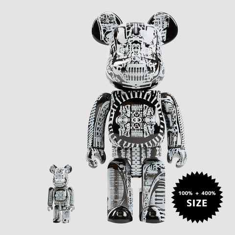 MEDICOM TOY: BE@RBRICK - H.R. Giger Black Chrome 100% & 400%