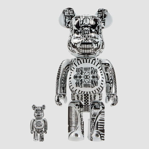 MEDICOM TOY: BE@RBRICK - H.R. Giger White Chrome 100% & 400%