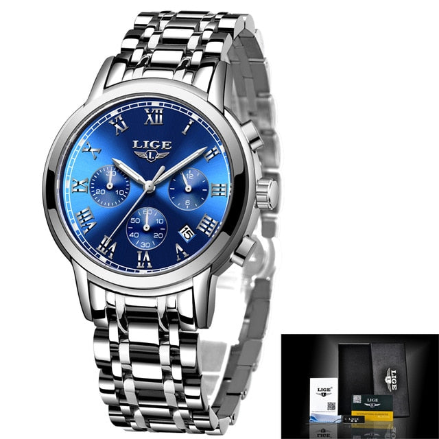 LIGE 2020 New Fashion Women Watches Reloj de cuarzo impermeable femenino