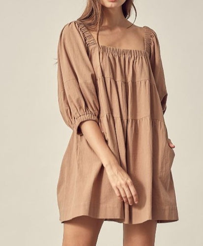 square neck oversized dress dark taupe