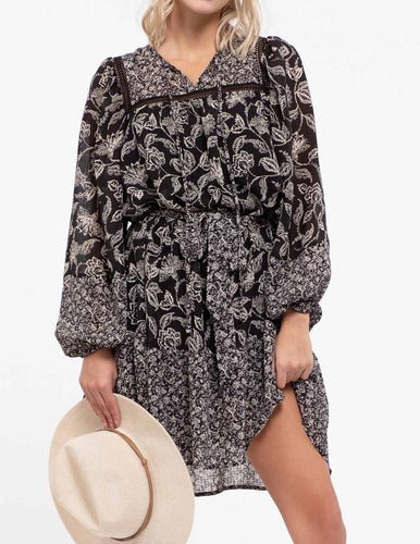 floral print tent dress black and white