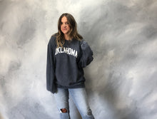 "Load image into Gallery viewer, amanda moore designs: ""oklahoma"" corded crew sweatshirt - washed navy"